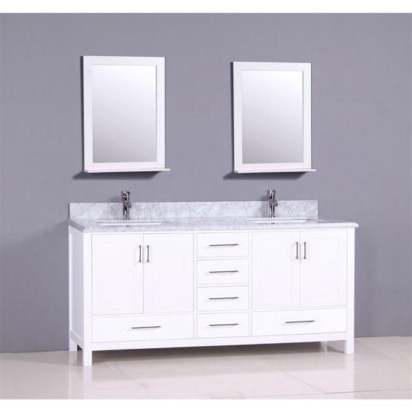 Meuble-lavabo Sienna avec comptoir en marbre, 72 po blanc.