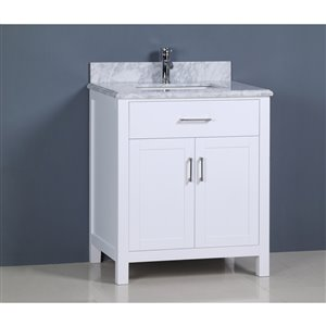 Capetown 30-in Gray Bathroom Vanity with Marble Top