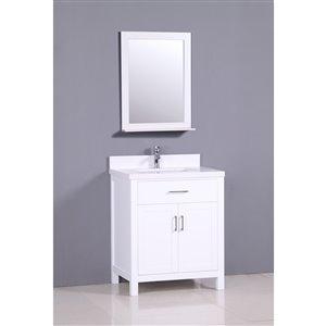 Capetown 30-in Gray Bathroom Vanity with Quartz Top