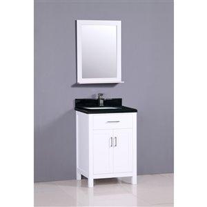 Capetown 24-in White Bathroom Vanity with Granite Top