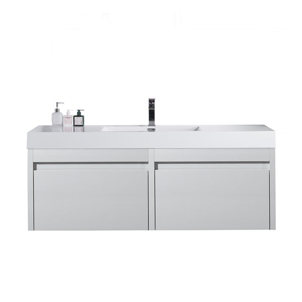 GEF Selena Vanity with Acrylic Top, 60-in White Single Sink