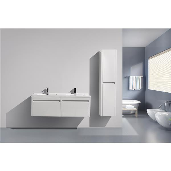 GEF Selena Vanity with Acrylic Top, 60-in White Double Sink