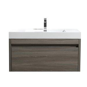 GEF Meuble-lavabo Selena avec comptoir acrylique , 36 po. érable gris