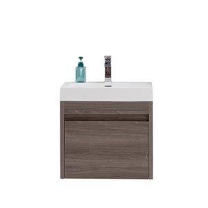 GEF Meuble-lavabo Selena avec comptoir acrylique , 24 po. érable gris