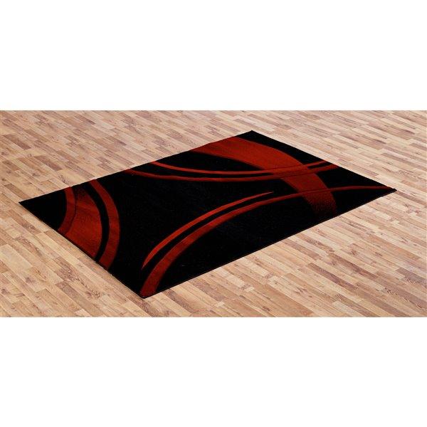 Segma Sofia 5-Ft x 8-Ft Black And Red Area Rug