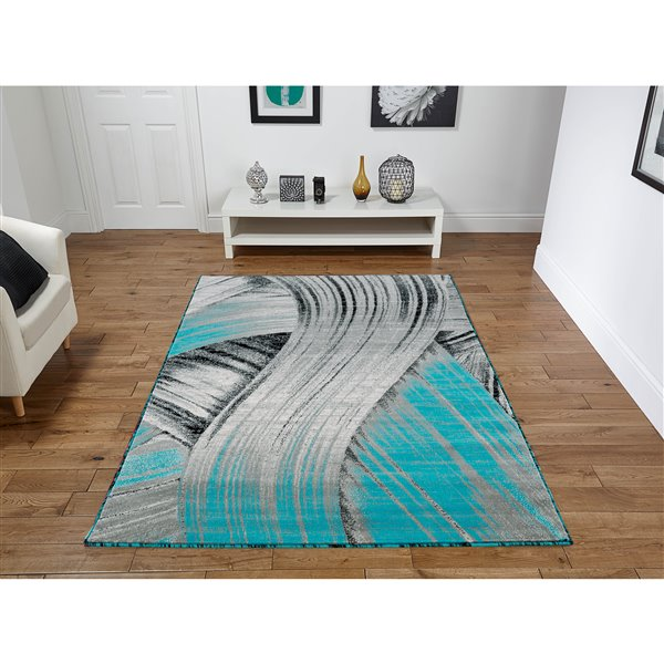 Tapis Claire, 5' x 8', turquoise