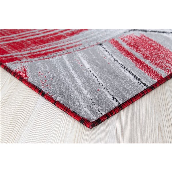 Segma Luminance 2-ft x 8-ft Gey/Red Mariah Area Rug