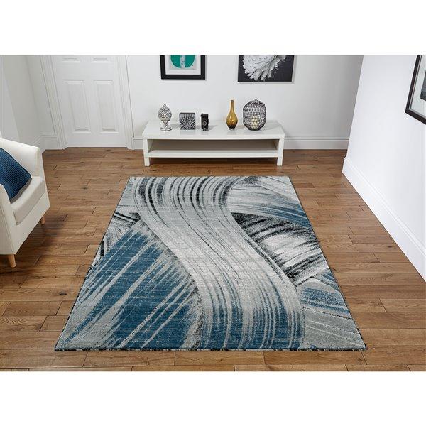 Tapis Evelyn, 8'x11', gris/bleu foncé