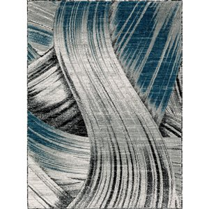 Segma Luminance 8-ft x 11-ft Evelyn Grey and Dark Blue Area Rug