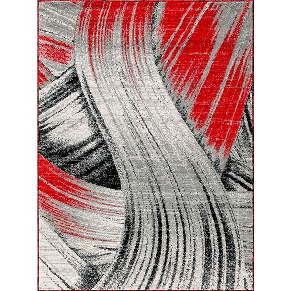 Tapis Mariah, 2' x 3', gris/rouge