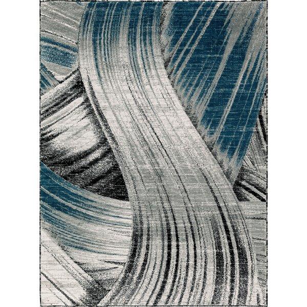 Tapis Evelyn, 2' x 3', gris/bleu foncé