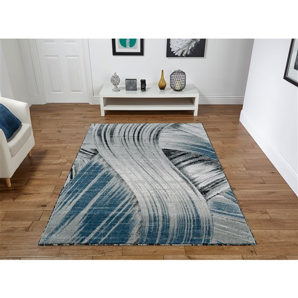 Segma Luminance 2-ft x 8-ft Evelyn Grey and Dark Blue Area Rug