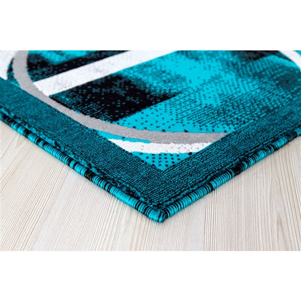 Segma Luminance 5-ft x 8-ft Lily Turquoise and Grey Area Rug