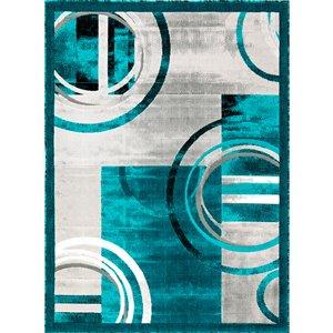 Segma Luminance 5-ft x 8-ft Lily Turquoise and Grey Area Rug