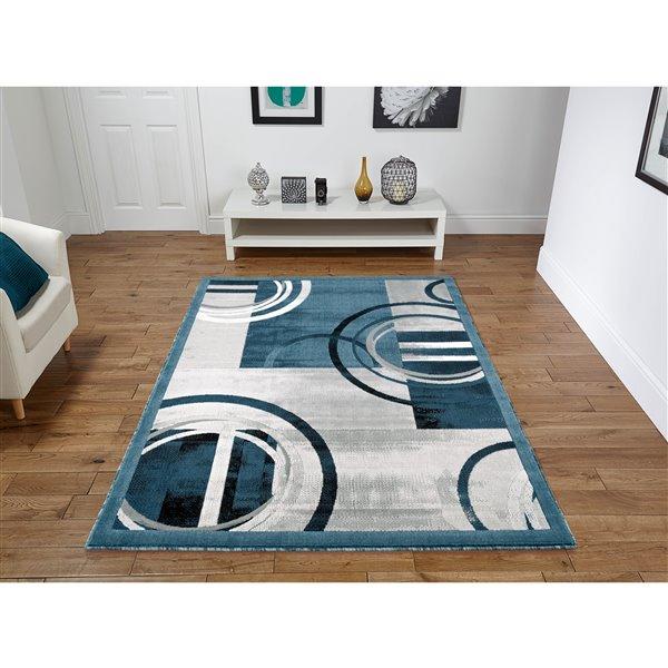 Segma Luminance 5-ft x 8-ft Ariana Dark Blue and Grey Area Rug