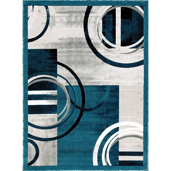 Segma Luminance 2-ft x 8-ft Ariana Dark Blue and Grey Area Rug
