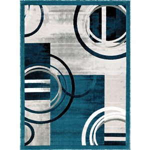 Segma Luminance 2-ft x 8-ft Ariana Dark Blue and Grey Area Rug