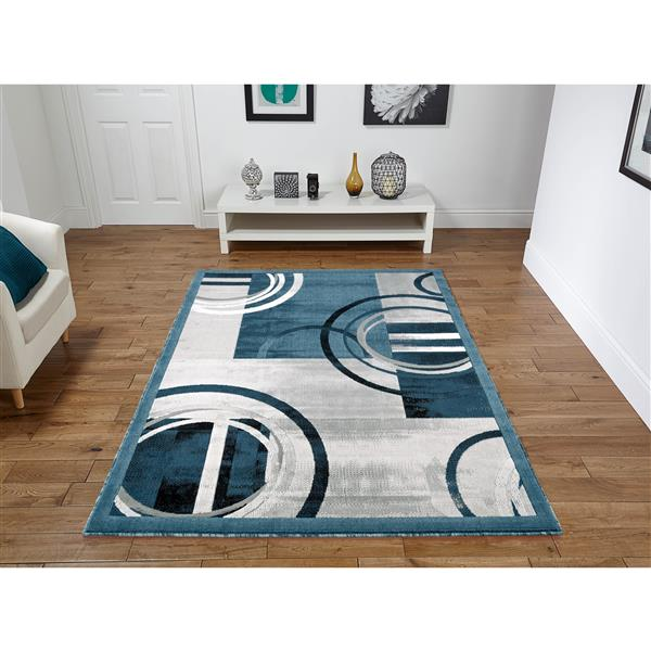 Segma Luminance 2-ft x 3-ft Ariana Dark Blue and Grey Area Rug