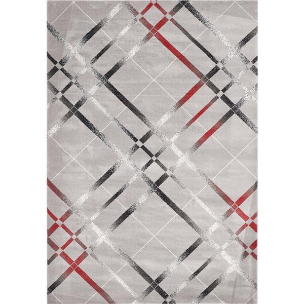 Segma Venice 8-ft x 11-ft Nicole Grey/Red/Cream Area Rug