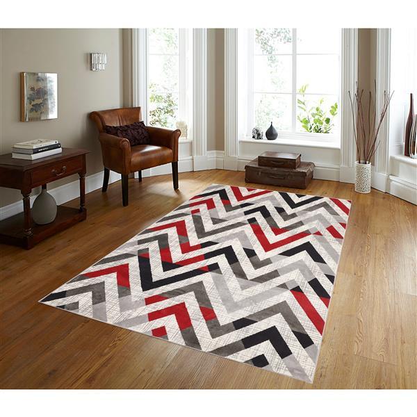 Segma Venice 5-ft x 8-ft Julia Grey/Red/Cream Area Rug