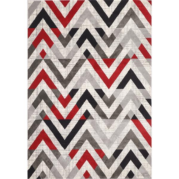 Tapis Julia, 8' x 11', gris et rouge