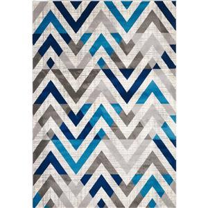 Segma Venice 5-ft x 8-ft Grey/Blue/Cream Lucy Area Rug
