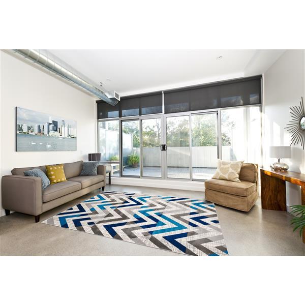 Segma Venice 8-ft x 11-ft Grey/Blue/Cream Lucy Area Rug