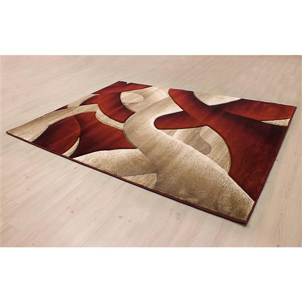 Tapis Reflections, 5'x8', rouge/beige