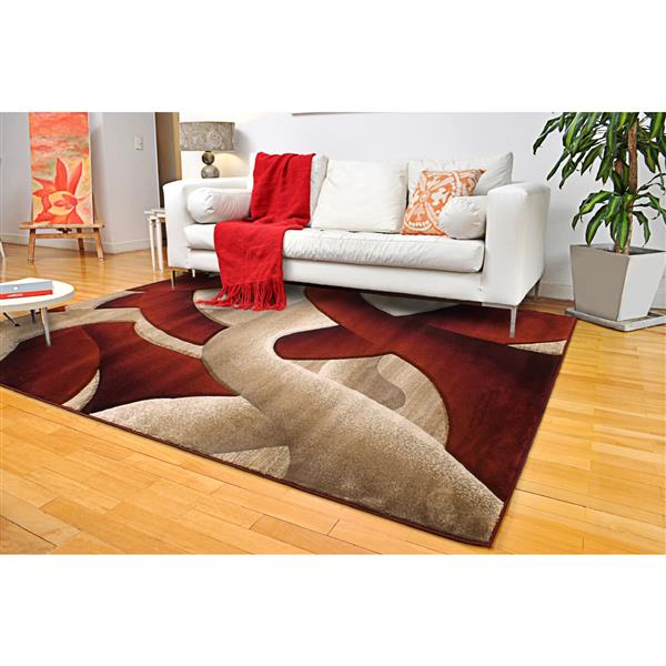 Segma Reflections 8-ft x 11-ft Red Beige Area Rug