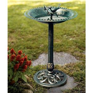 Sunjoy 31-in Green Pedestal Bird Bath