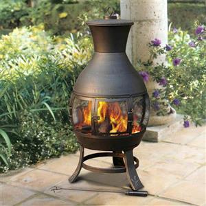 Sunjoy 20-in x 20-in x 45-in Black Steel Outdoor Chimney