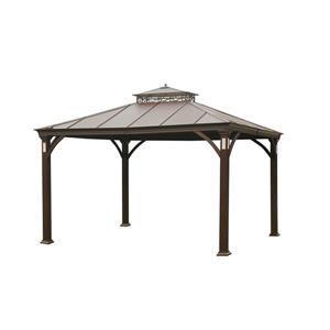 Abri-soleil à toit rigide Sanoma de Sunjoy, 10'x12', noir