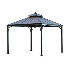 Abri-soleil à toit rigide Harper de Sunjoy,  10' x 10', noir