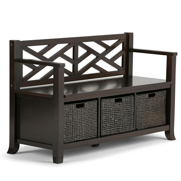 Simpli Home Adrien 47.20-in Espresso Brown With 3 Espresso Water Hyacinth Baskets Wooden Stroage Indoor Bench