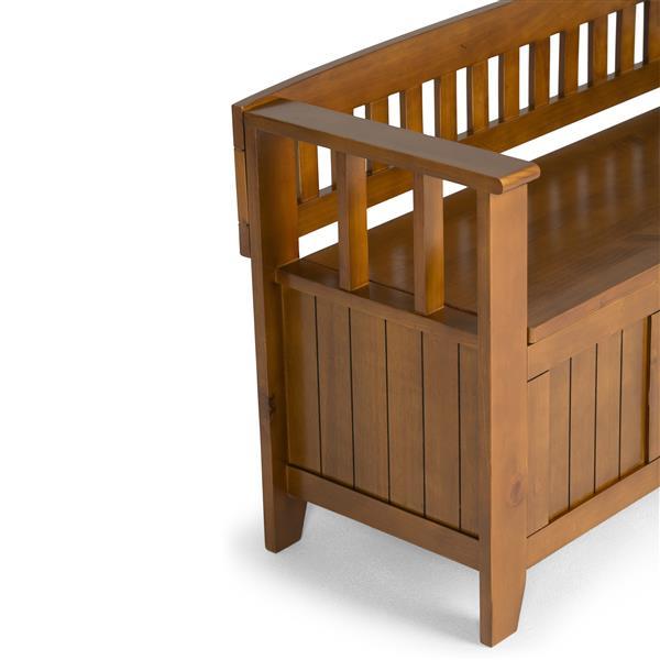 Simpli Home Acadian 45-Lbs, Heigth 25.50-In Length 48.80-In Depth 17-In Brown Wood Storage Indoor Bench