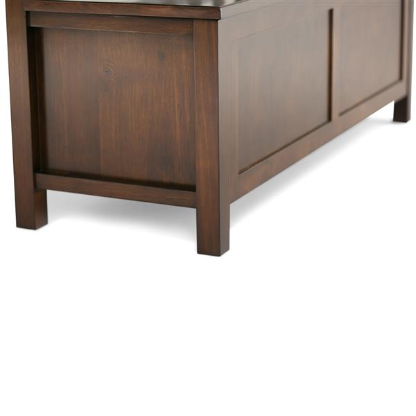 Simpli Home Artisan 48-in Auburn Brown Flip Top Wooden Stroage Indoor Bench
