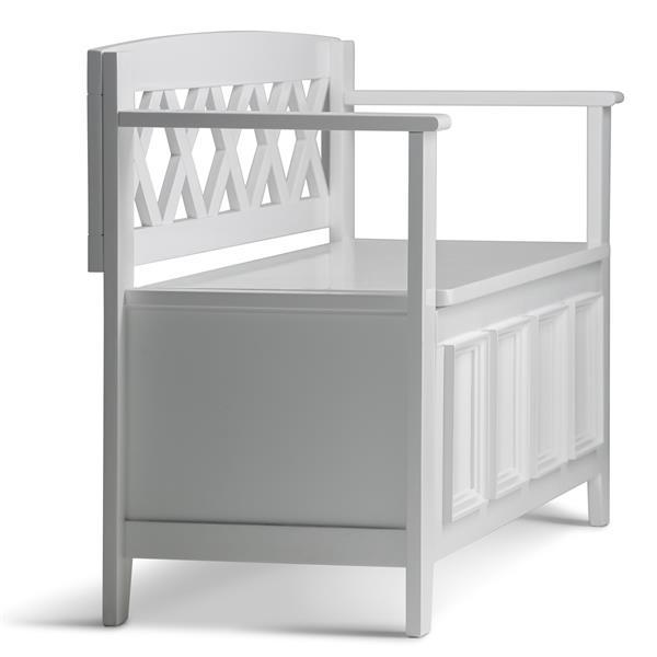 Simpli Home Amherst 48-in White Wooden Stroage Indoor Bench