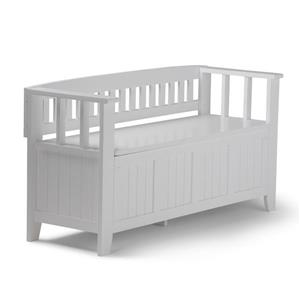 Simpli Home Acadian 45-Lbs, Heigth 25.50-In Length 48.80-In Depth 17-In White Wood Storage Indoor Bench
