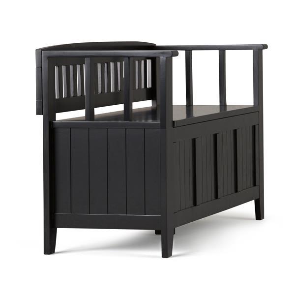 Simpli Home Acadian 45-Lbs, Heigth 25.50-In Length 48.80-In Depth 17-In Black Wood Storage Indoor Bench