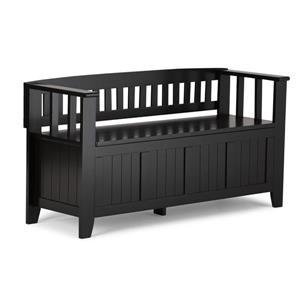 Simpli Home Acadian 45-Lbs, Heigth 25.50-In Length 48.80-In Depth 17-In Black Wood Storage Indoor Bench