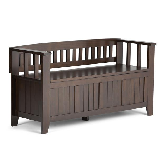 Simpli Home Acadian 45-Lbs, Heigth 25.50-In Length 48.80-In Depth 17-In Tabacco Brown Wood Storage Indoor Bench