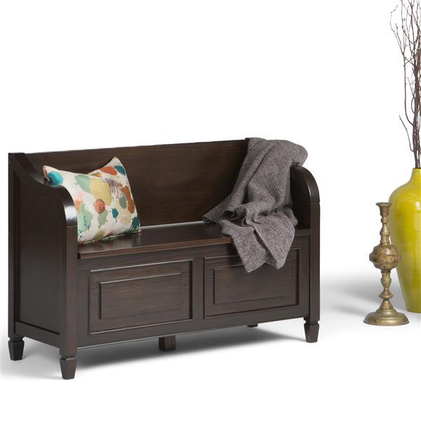 Simpli Home Connaught 49.60-Lbs 29.50-In x 42-In x 17.60-In Chestnut Brown Flip Top Indoor Storage Bench