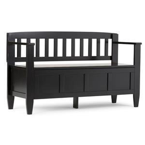 Simpli Home Brooklyn 37-Lbs Heigth 28-In Length 48-In Depth 17-In Auburn Black Flip Top Wooden Indoor Storage Bench