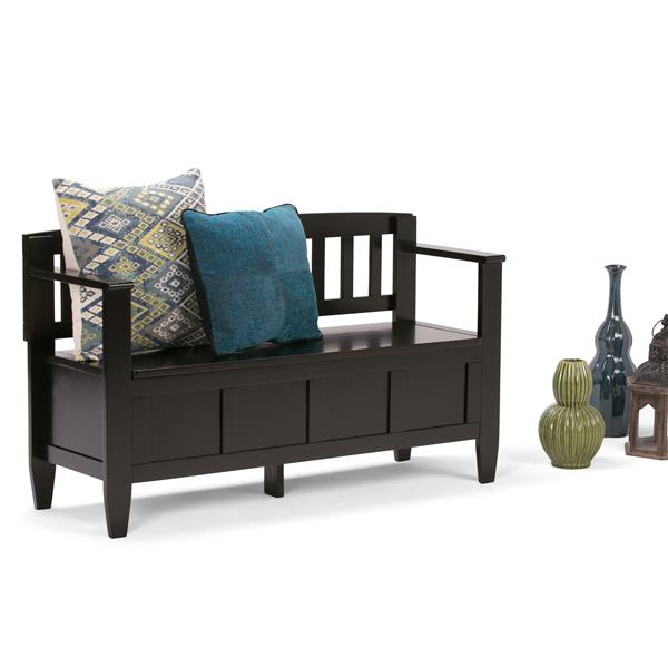Simpli Home Brooklyn 37-Lbs Heigth 28-In Length 48-In Depth 17-In Brown Flip Top Wooden Indoor Storage Bench
