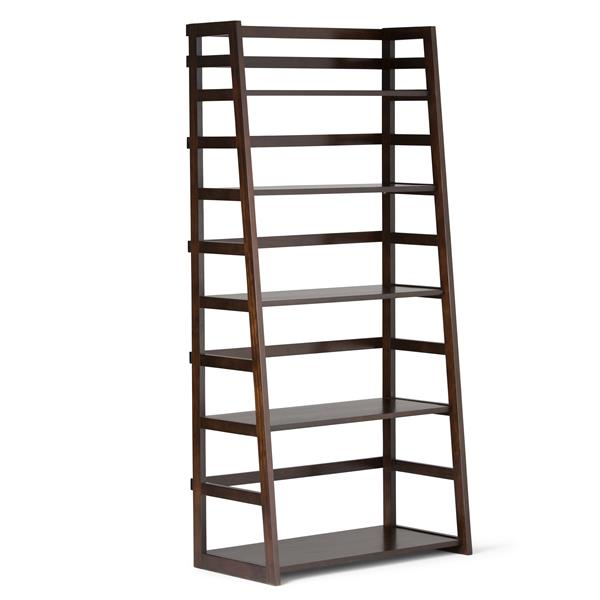 Simpli Home Acadian Pine 5-Shelves Tobacco Brown Ladder Bookcase