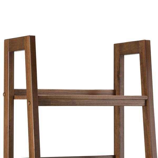 Simpli Home Sawhorse 24-in Saddle Brown 4-Shelf Ladder Bookcase