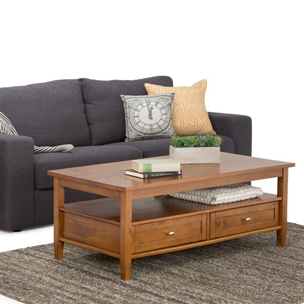 Simpli Home Warm Shaker  48-in x 24-in x 18.1-in Solid Pine In Honey Brown Finish Double Drawer Rectangular Coffee Table