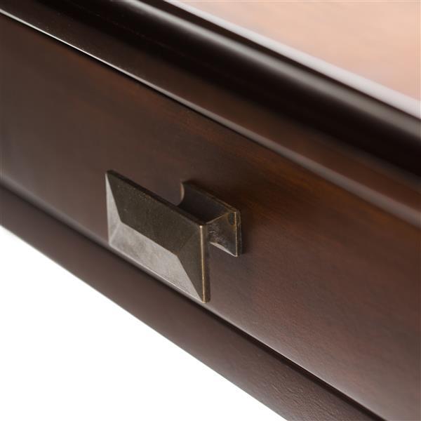 Simpli Home Artisan 17.8-in x 46-in x 22-in Auburn Brown Finish Coffee Table