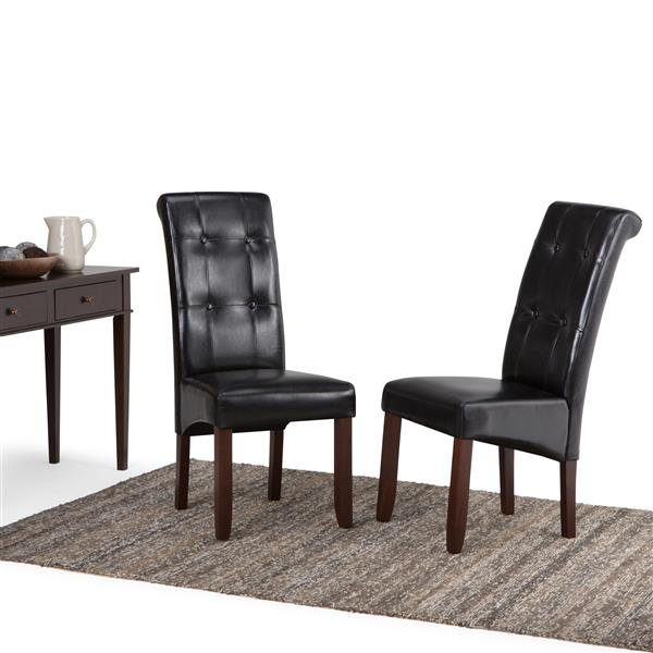 Simpli Home CorLiving Cosmopolitan Black 18.90-in X 42.10-in Faux Leather Dining Chairs Set of 2