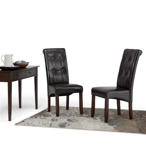 Simpli Home CorLiving Cosmopolitan Brown and 18.90-in X 42.10-in Faux Leather Dining Chairs Set of 2